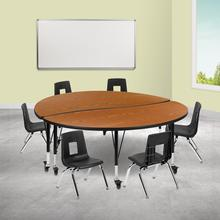 """Mobile 60"""" Circle Wave Collaborative Laminate Activity Table Set with 12"""" Student Stack Chairs, Oak\/Black"""