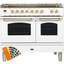 Nostalgie 40 Inch Dual Fuel Natural Gas Freestanding Range in Custom RAL Color with Brass Trim