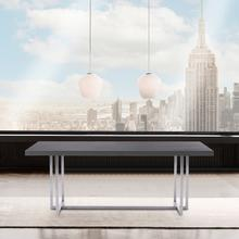 See Details - Harmony Contemporary Dining Table in Silver Finish and Gray Veneer Top