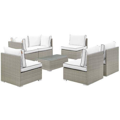 Modway - Repose 7 Piece Outdoor Patio Sectional Set in Light Gray White