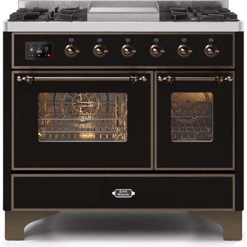 Majestic II 40 Inch Dual Fuel Natural Gas Freestanding Range in Glossy Black with Bronze Trim