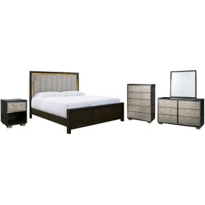 California King Upholstered Panel Bed With Mirrored Dresser, Chest and Nightstand