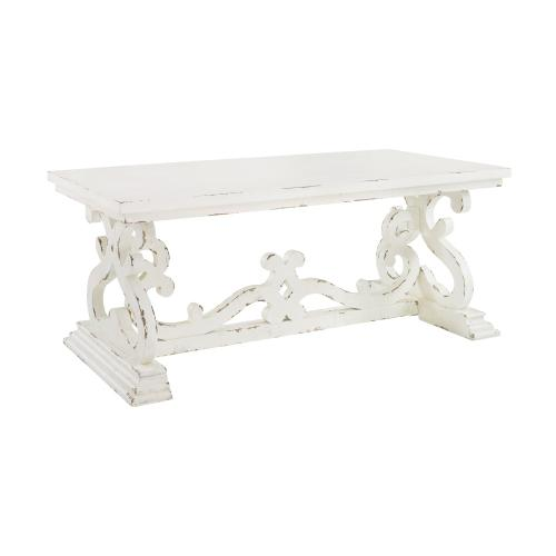 Double Pedestal Coffee Table, Distressed White