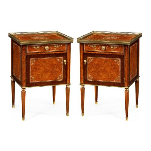 A pair of burl and mother of pearl inlaid night stands