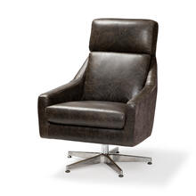 Abbott I Brown Leather and Fabric Seat w/ Silver Metal Pedestal Rotating Accent Chair