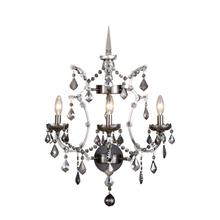 Elena 3 light Raw Steel Wall Sconce Silver Shade (Grey) Royal Cut crystal
