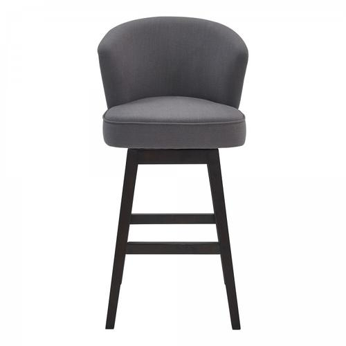 "Armen Living Brandy 26"" Counter Height Barstool in Espresso Finish and Grey Fabric"