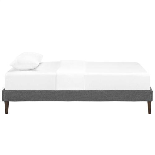 Tessie Twin Fabric Bed Frame with Squared Tapered Legs in Gray