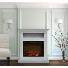 Cambridge Sienna 34 In. Electric Fireplace w/ 1500W Log Insert and White Mantel, CAM3437-1WHT