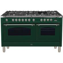 Nostalgie 60 Inch Dual Fuel Natural Gas Freestanding Range in Emerald Green with Chrome Trim