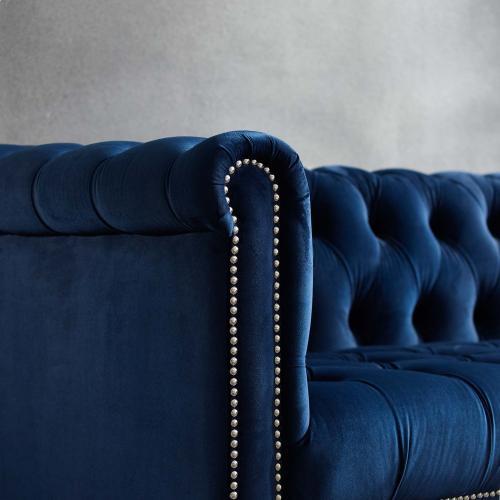 Heritage Performance Velvet Armchair in Midnight Blue