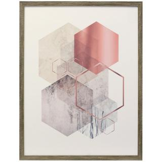 Hexagonal Geo I  Framed Print Under Glass  20in X 26in