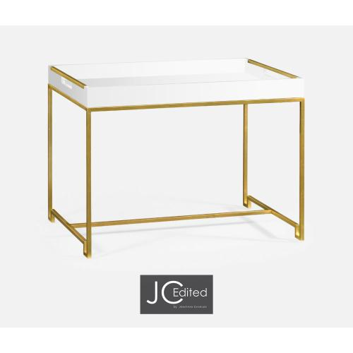 Gilded iron tray table in Biancaneve top