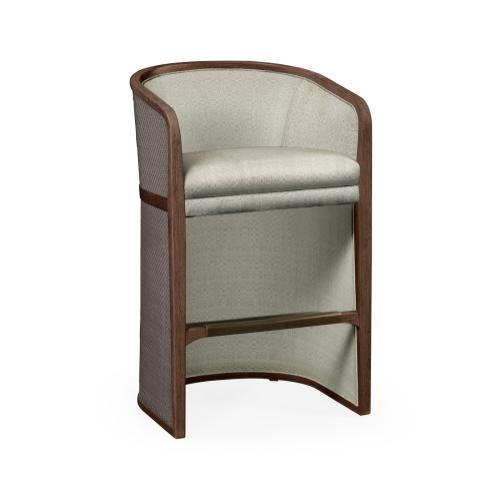 Walnut & Dark Grey Rattan Tub Bar Stool, Upholstered in Standard Outdoor Fabric
