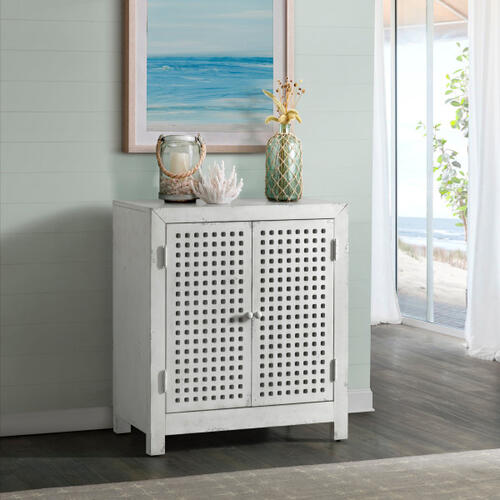 Two Door Pierced Grid Accent Chest in Farmhouse White
