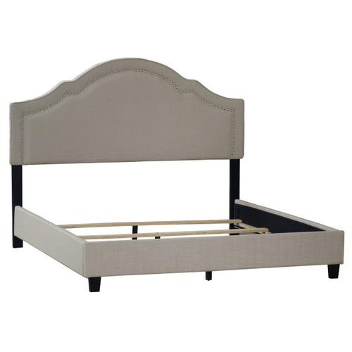 Shaped Nailhead Upholstered King Footboard and Side Rails