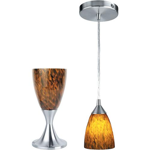 Table & Pendant Lamp, Ps W/amber Glass, 40w/b Type