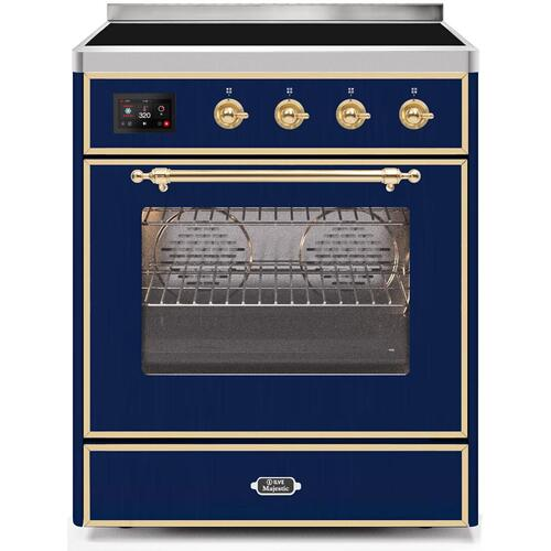 Majestic II 30 Inch Electric Freestanding Range in Blue with Brass Trim