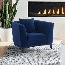 See Details - Melange Blue Velvet Upholstered Accent Chair with Black Wood Base