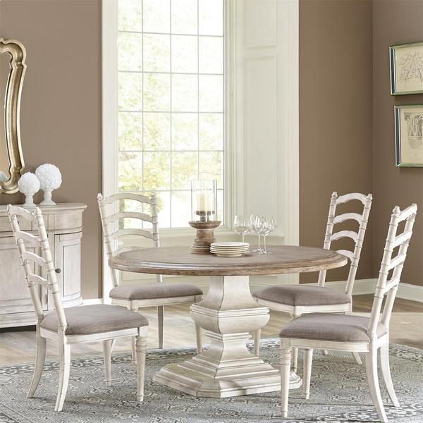 Elizabeth - Upholstered Ladderback Side Chair - Smokey White Finish