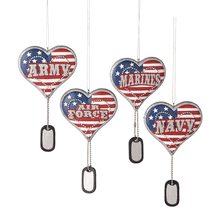 Military Service Heart w/Dog Tag Dangle Ornaments (4 asstd)
