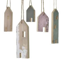 """2.25"""" Set of 5 Wood Village Collection (Ornaments Option)"""