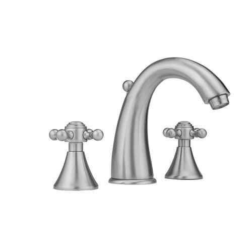 Satin Chrome - Cranford Faucet with Ball Cross Handles & Fully Polished & Plated Pop-Up Drain