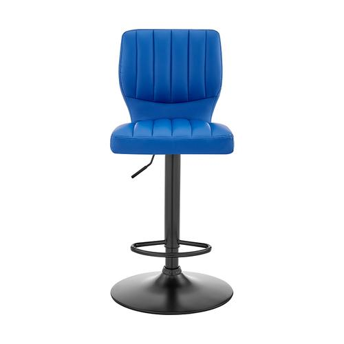 Bardot Adjustable Swivel Bar Stool in Matte Black with Blue Faux Leather