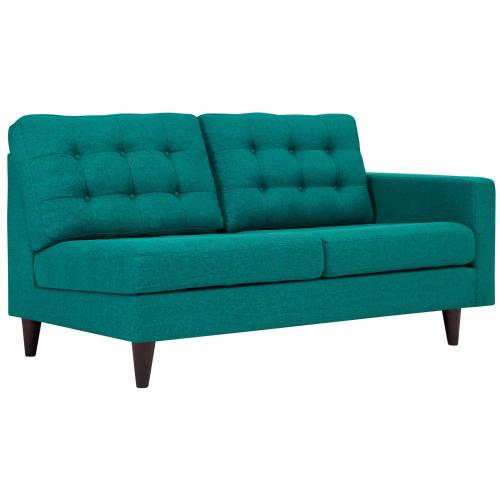 Empress Right-Facing Upholstered Fabric Loveseat in Teal