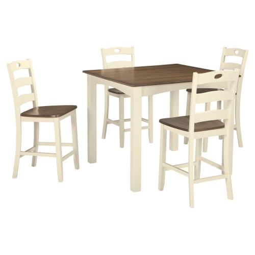 Woodanville Counter Height Table and 4 Chairs Cream/Brown