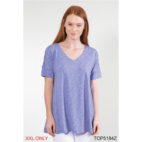 Sedona Solid Button Sleeve Top - XXL (2 pc. ppk.)