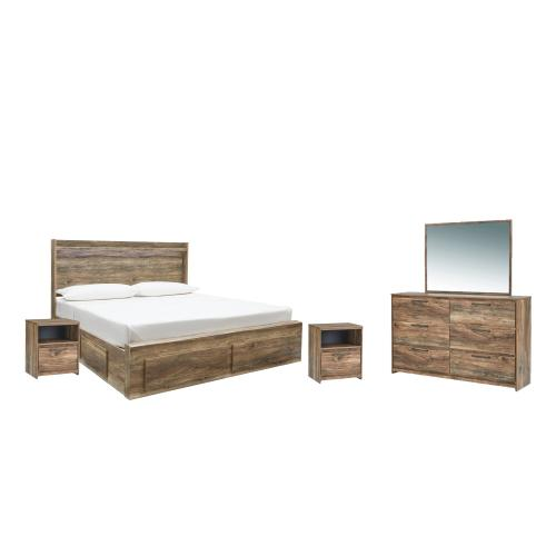 King Panel Bed With 6 Storage Drawers With Mirrored Dresser and 2 Nightstands