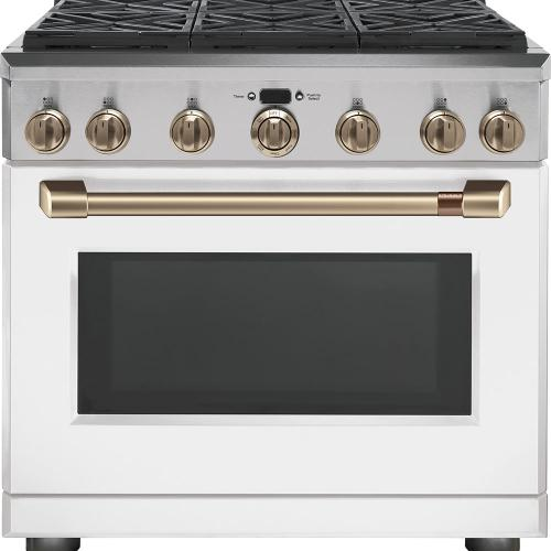 "Café 36"" Dual Fuel Professional Range with 6 Burners Matte White"