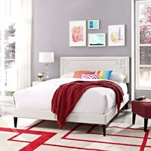View Product - Ruthie Full Vinyl Platform Bed with Squared Tapered Legs in White