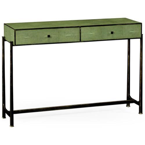 Green faux shagreen bronze console
