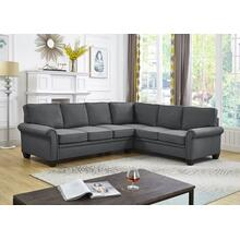 See Details - GREY LINEN SECTIONAL CHAISE
