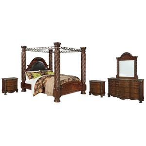 King Poster Bed With Canopy With Mirrored Dresser and 2 Nightstands