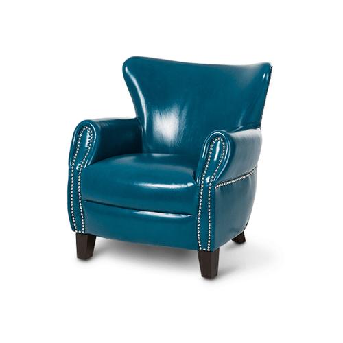 Bladen Leather Accent Chair TealBlue Espresso