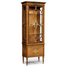 Narrow satinwood display cabinet with eglomis e details