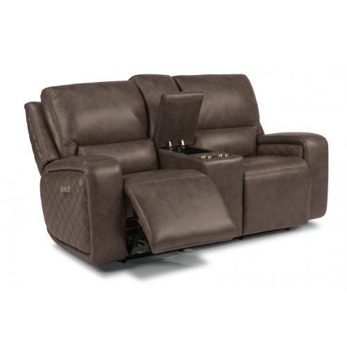 Blade Power Reclining Loveseat with Console & Power Headrests