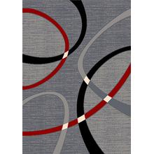 See Details - CONT-40 RED Contemporary Abstract Oval Rug