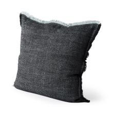 See Details - Malia 20L x 20W Blue Fabric Fringed Pillow Cover