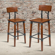 2 Pack Rustic Antique Walnut Industrial Wood Dining Barstool