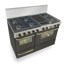 """48"""" Dual Fuel, Convect, Self Clean, Sealed Burners, Black with Brass"""