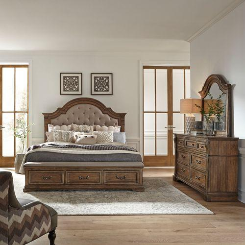 Opt Queen Storage Bed, Dresser & Mirror