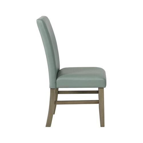 Upholstered Faux Leather Side Chair, Sky Blue and Grey