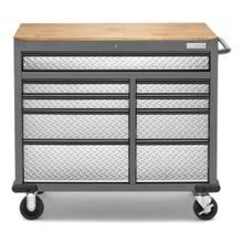 See Details - Premier 41 inch 9-drawer Mobile Tool Workbench with Solid Wood Top