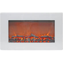 See Details - Cambridge Callisto 30 In. Wall-Mount Electric Fireplace in White with Realistic Log Display, CAM30WMEF-2WHT
