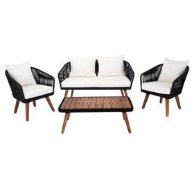 Ransin 4pc Living Set - Black Rope / Beige Cushion / Natural Legs