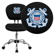 United States Coast Guard Embroidered Black Mesh Task Chair with Chrome Base